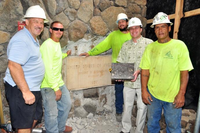 (L-R) Dwayne Betsill, Jeremy Betsill, Justin Souza, MD Keith Regan, Ronald Mendoza at the cornerstone.
