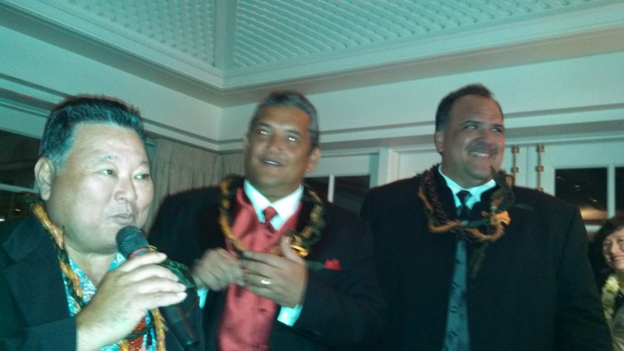 First picture of is Mayor Alan Arakawa, Hawaii County Mayor Billy Kenoi and Kauai County Mayor Bernard Carvalho.