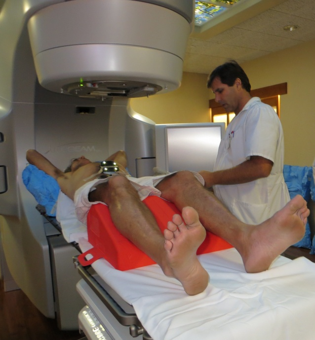 Radiation therapist Steve Morando prepares Greg Benson, 65, of Kihei, fora new kind of radiation treatment Friday at the Pacific Cancer Institute ofMaui. The Pacific Cancer Institute of Maui is the only facility in the state tooffer Stereotactic Body Radiation Therapy with respiratory gating.
