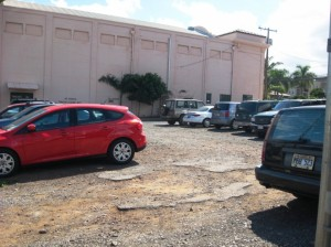 Lot next to side of Iao Theater proposed for Iao Square park. If built most of existing parking will be removed. Maui Now reader photo.