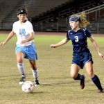 Kamehameha Maui's Marley Duncan (3) scored two goals Tuesday night in the Warriors' 4-2 win over Baldwin at War Memorial Stadium. Photo by Rodney S. Yap.