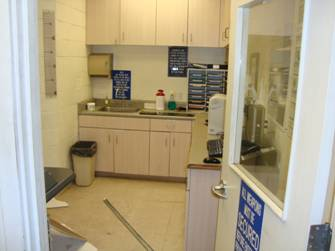 Below photo(s) of the Kihei Substation prisoner processing room damage. Courtesy photo.