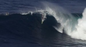 This image of Jeff Rowley at Jaws captures the moment before he collided with the wave.