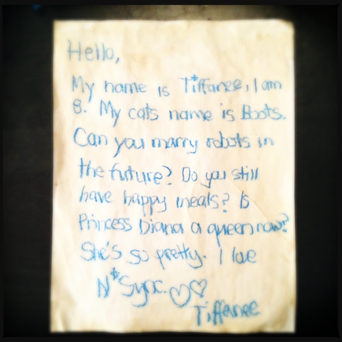 Tiffanee Price's time capsule letter. Photo by Vanessa Wolf