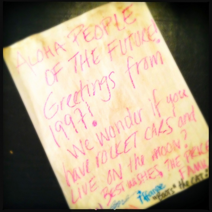 The Price family time capsule letter. Photo by Vanessa Wolf