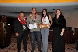 "Mayor Arakawa & Pamela Tumpap, President of the Maui Chamber of Commerce with 2012 winner of ""Exceptional Small Business"" (26-50 employees) award - Les Tomita & Mariah Brown of Da Kitchen."