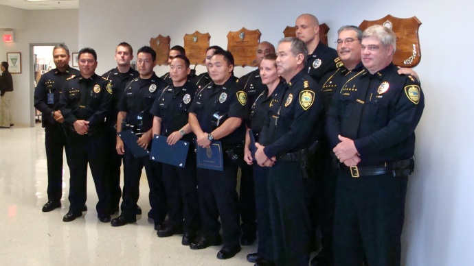 The Maui Police Department honored nine of their own for exceptional service while on duty.  Photo by Wendy Osher.