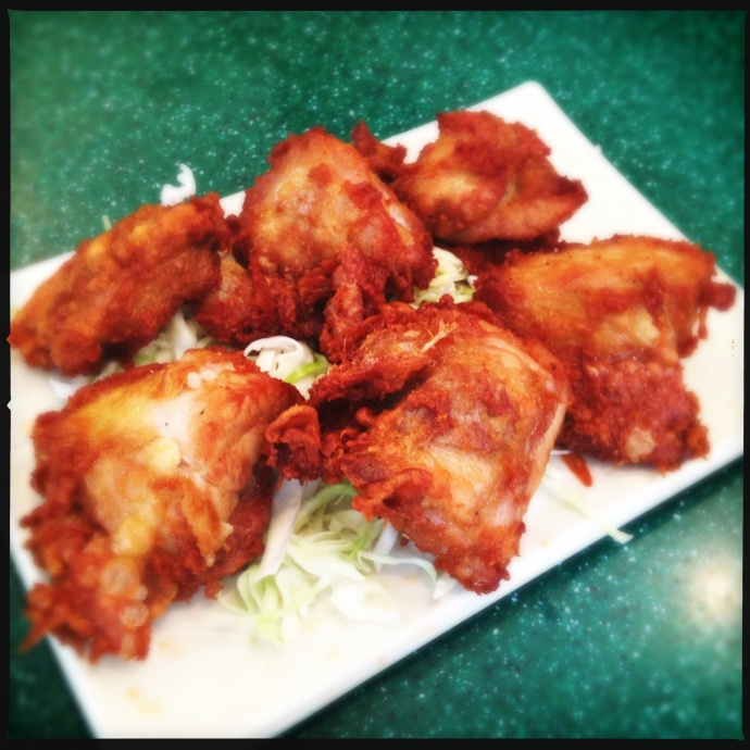 At $5, the Mochiko chicken breaks down to $.83 a piece. Bargain! Photo by Vanessa Wolf