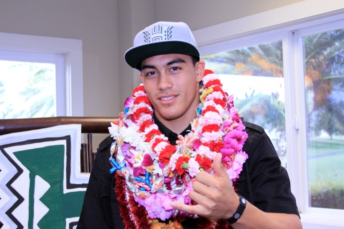 Happy to be a Hawaii Warrior, Keelan Ewaliko at his official press conference Wednesday after signing a letter of intent
