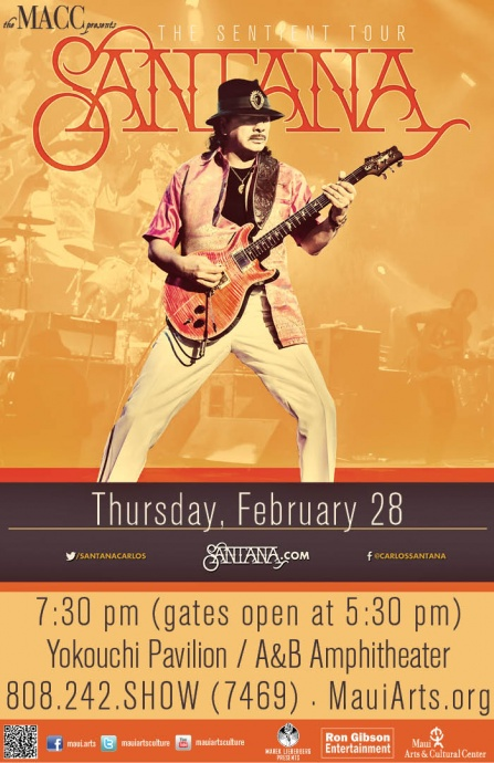 Santana Maui concert poster, courtesy MACC.