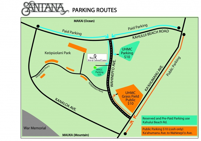 Maui Santana concert parking map. Click image to view in greater detail.