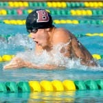 Baldwin's 100 breaststroke winner Carter Suzuki led the Bears to a sweep of the event. Photo by Rodney S. Yap.