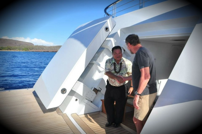 Mayor Alan Arakawa meets with Larry Ellison off the coast of Lanai. Photo courtesy County of Maui, Feb. 19, 2013.