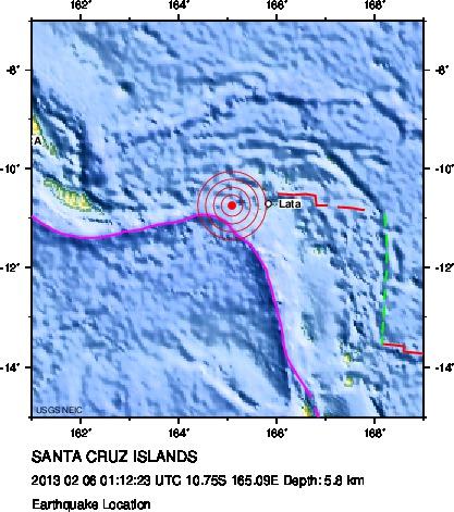 Santa Cruz Islands Earthquake February 5, 2013, image courtesy USGS.