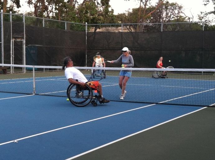2012 Wheelchair Adaptive Tennis Clinic.  Photo courtesy County of Maui.