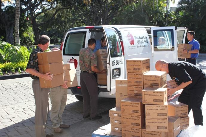 Wailea Marriott makes oatmeal donation to the Maui Food Bank. Courtesy photo.
