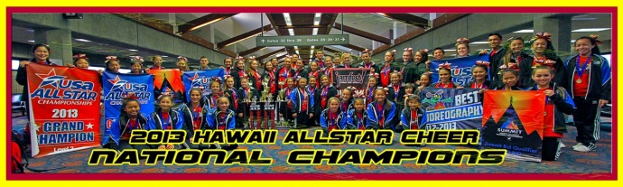 The Hawaii All-Star Cheerleaders pose with their trophies and banners they won attending a pair of mainland competitions over spring break. Photo by Ben Juan.