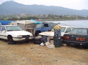 Homeless camp by Kahului Harbor. File photo by Wendy Osher.