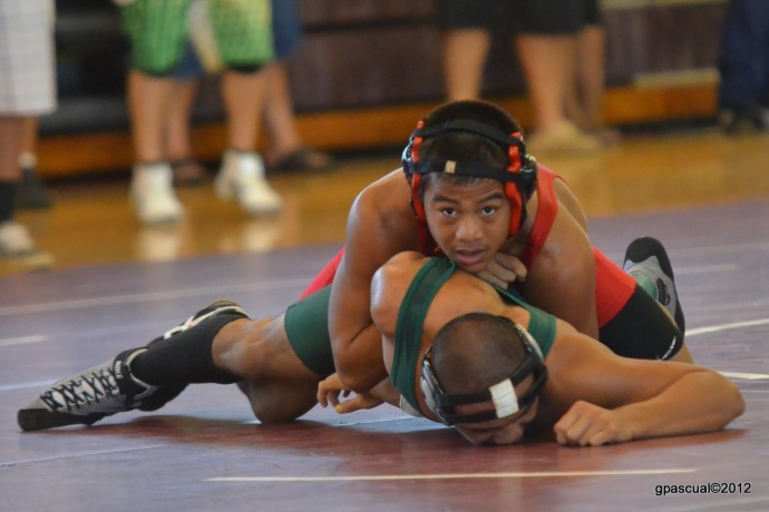 Lahainaluna High School's Bubba Jaramillo, shown here in a meet last month, won the boys 140