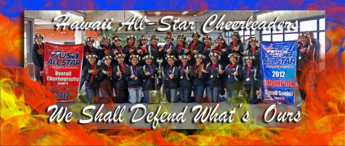 The Hawaii All-Star Cheerleaders will defend its national titles at the USA Nationals in Anaheim, Calif., March 23-24. Photo by Hawaii All-Star Cheerleaders.