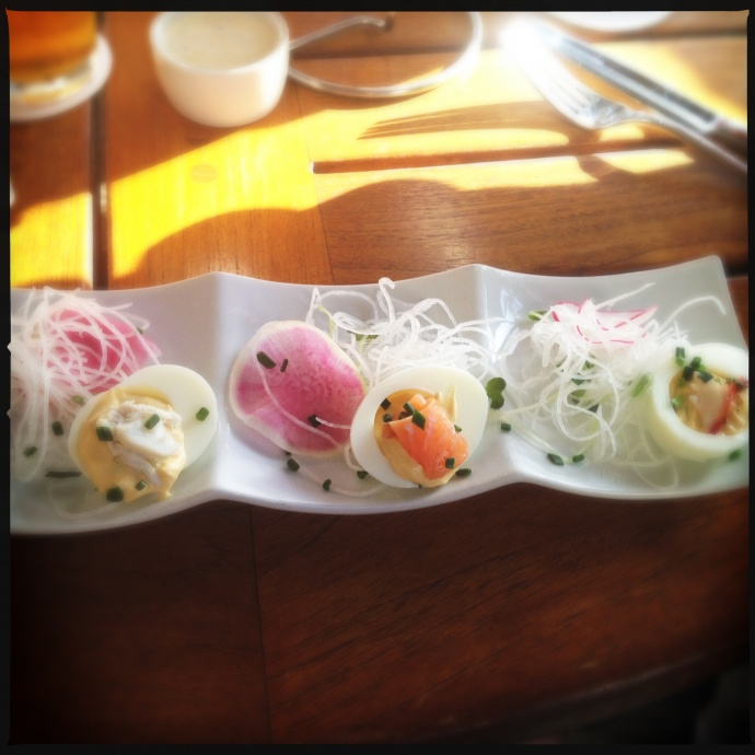 The deviled eggs are quite fetching. Photo by Vanessa Wolf