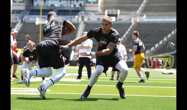 Baldwin's Jordan Hoiem during linebacker drills at the Nike Football Training Camp in Eugene, Ore., last June. Photo by Tom Hauck of ESPNHS.