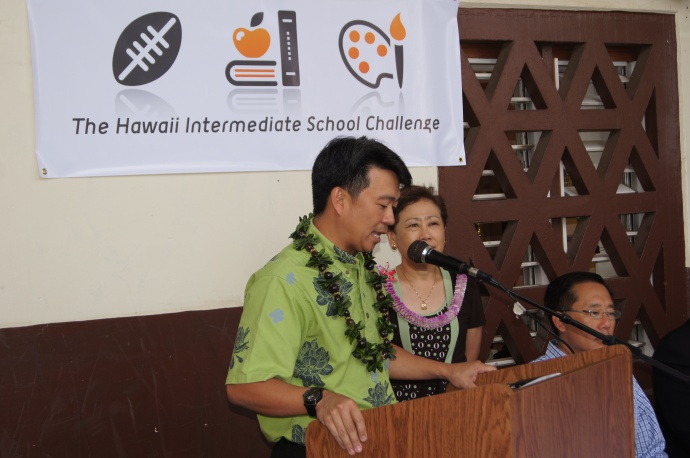 Lt. Gov. Tsutsui announcing his plan to develop a new initiative geared towards enhancing the learning experience of intermediate and middle school students throughout the State. Courtesy photo.