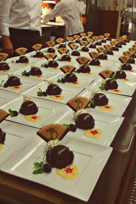"Chefs prepare ""Death by Chocolate"" at last month's Makena Beach & Golf Wine Dinner. Courtesy photo."