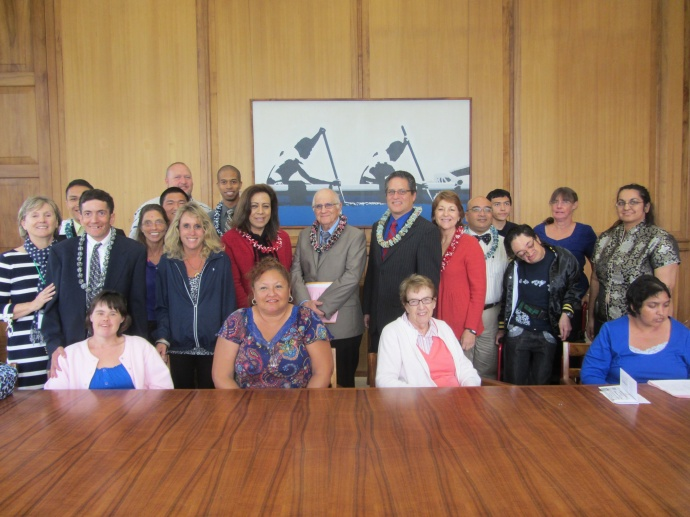 Maui County Senate team, along with other legislators, welcomed the Hawaii State Council on Developmental Disabilities to the State Capitol.  Photo Courtesy:  The Office of Senator J. Kalani English.