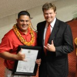 Aaron Loque with Rep. Angus McKelvey of Maui.  Courtesy photo.