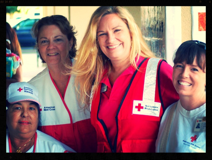 Red Cross Volunteers Barbara Jean Eberly, Arleen Carvalho, Maui County Director Michele Liberty, and Shannon Pyland. Courtesy Photo, Maui Red Cross.
