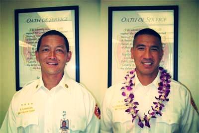 Battalion Chief Richard Kawasaki and Battalion Chief Amos Lonokailua-Hewett Photos courtesy MFD.