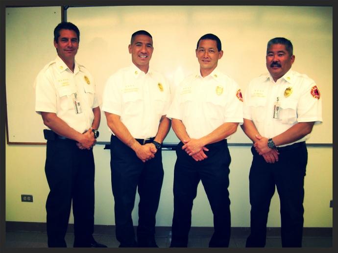 Fire Chief Jeffrey Murray, BC Amos Lonokailua-Hewett, BC Richard Kawasaki, Deputy Chief Robert Shimada. MFD courtesy photo.