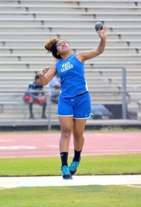 Maui High School's Grace Fisher tops the girls discus and is currently No. 2 in the shot put. Photo by Rodney S. Yap.
