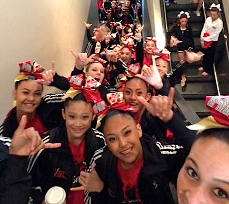 Members of the Hawaii All-Star Cheerleaders after winning a pair of national titles in Long Beach, Calif., on Sunday, March 17. Photo by Hawaii All-Star Cheerleaders.