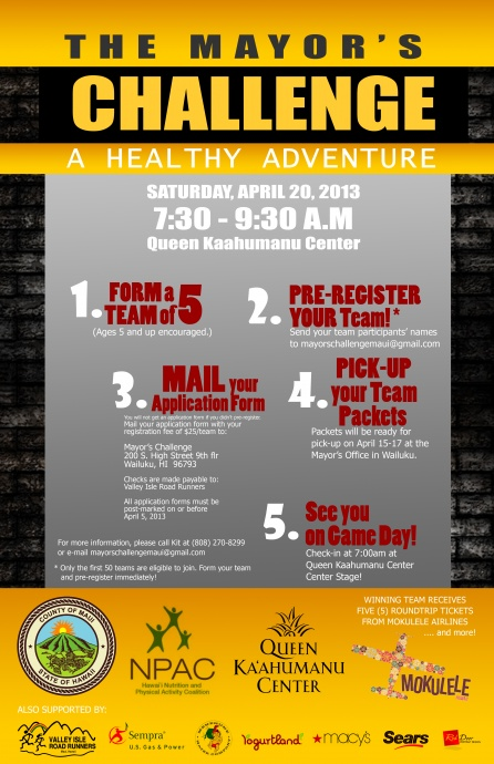 Mayor's Challenge poster. Courtesy County of Maui.