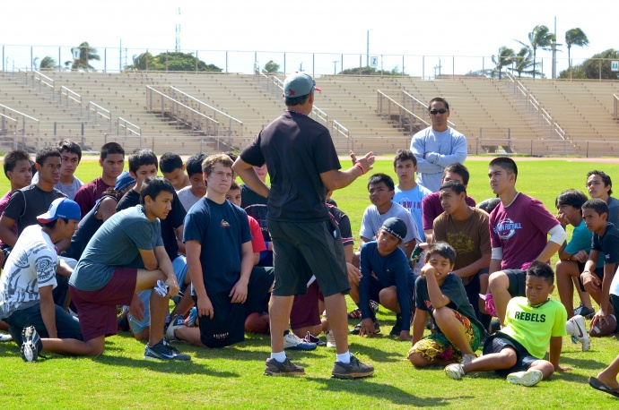 Maui's youth benefitted from Vince Passas' love for football, coaching and giving back Saturday at War Memorial Stadium. Photo by Rodney S. Yap.