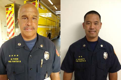 Mark Pokini (left) and Kris Sakamoto (right). Photos courtesy Maui Fire Department.