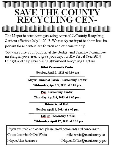Flyer that had been circulated in community regarding recycling plans.  Courtesy image.