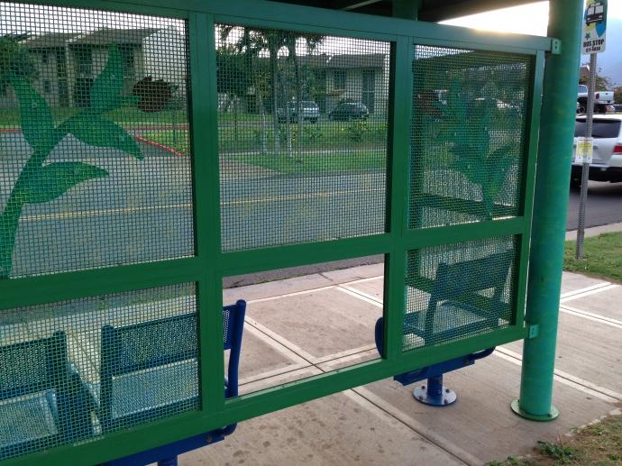 Bus shelter damage, photo courtesy County of Maui.