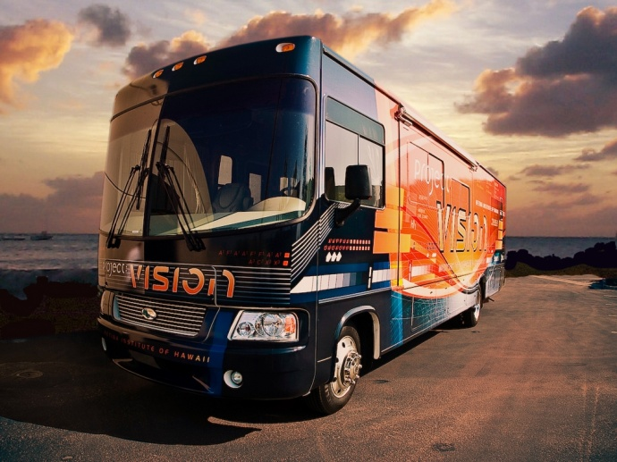 Maui residents can look for free retina/vision tests aboard a 30-foot orange Project Vision Hawai`i bus at islandwide health screenings. Courtesy photo.