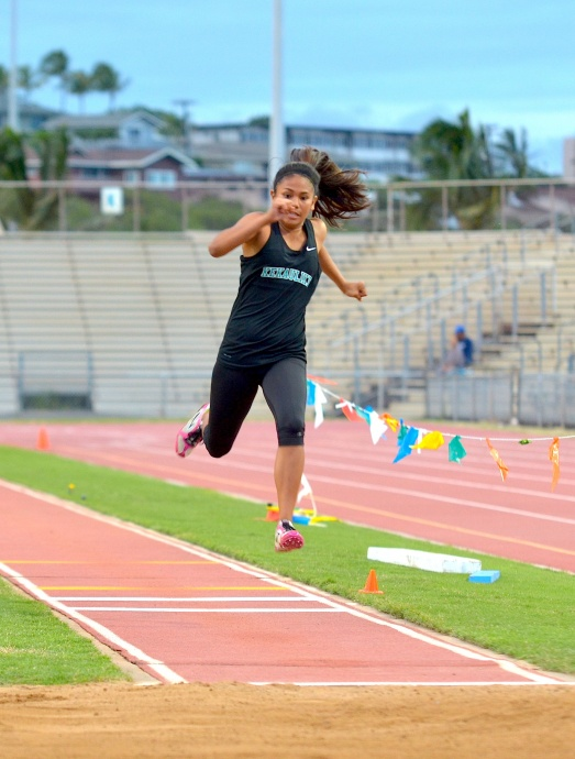 King Kekaulike's Brooks Carillo won the girls long and triple jumps. She was one of four double winners at the MIL JV championships. Photo by Rodney S. Yap.