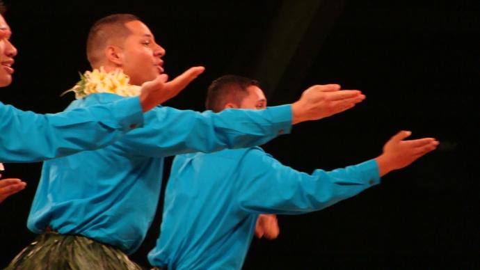 """Maui Hālau Kekuaokalā'au'ala'iliahi, under the direction of nā kumu hula 'Iliahi and Haunani Paredes, earned a fourth place finish for the 'Auana Kāne division for their performance of """"Laupāhoehoe Hula"""". Photo by Wendy Osher."""