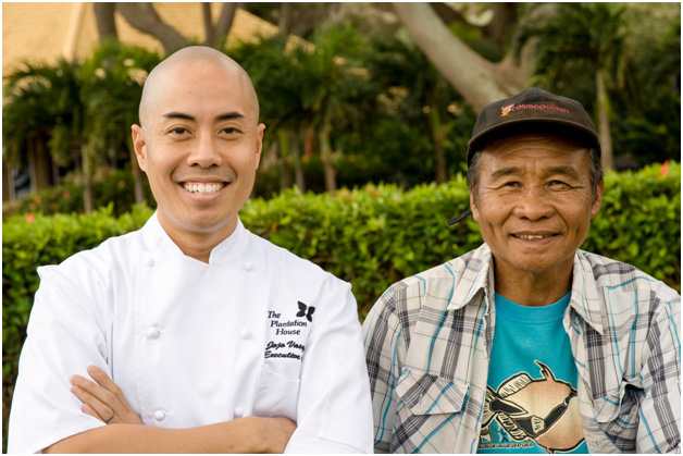 : Executive Chef Jojo Vasquez of The Plantation House re-unites with Farmer Sylvestre Tumbaga of Sylʻs Produce in Kula. In 2011 they joined forces to win the Judgesʻ Choice Award featuring Kula Sweet Corn. This year they plan to serve a Cauliflower curtido. Photo by Steve Brinkman Photography, courtesy of Kaʻuhane Inc.