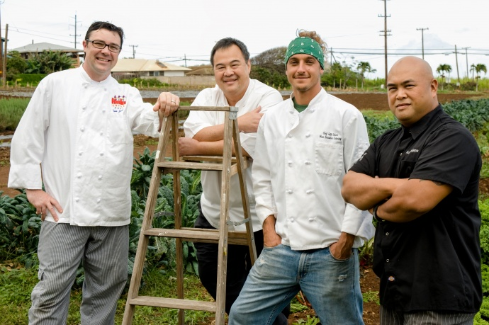 Some of the chefs confirmed at Grand Taste Education April 6th at Maui County Ag Festival. Left to right: Ryan Luckey, Hula Grill; Tylun Pang, Kō at The Fairmont Kea Lani, Maui, Jeff Scheer, Maui Executive Catering; and Riko Bartolome, Asia-Vous. Photo by Steve Brinkman, courtesy of Kaʻuhane Inc.