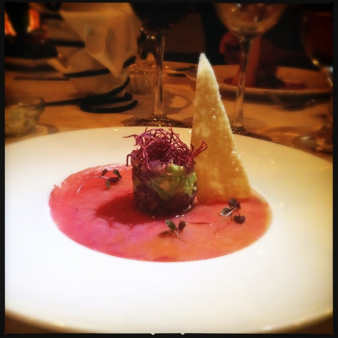 Hawaiian Ahi Carpaccio with a ginger lime avocado poke tower and kaffir lime parfait from last month's wine dinner. Photo by Vanessa Wolf