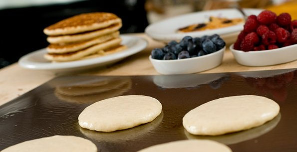Making breakfast at home too boring for you? Do it in public! Photo courtesy Slappy Cakes.