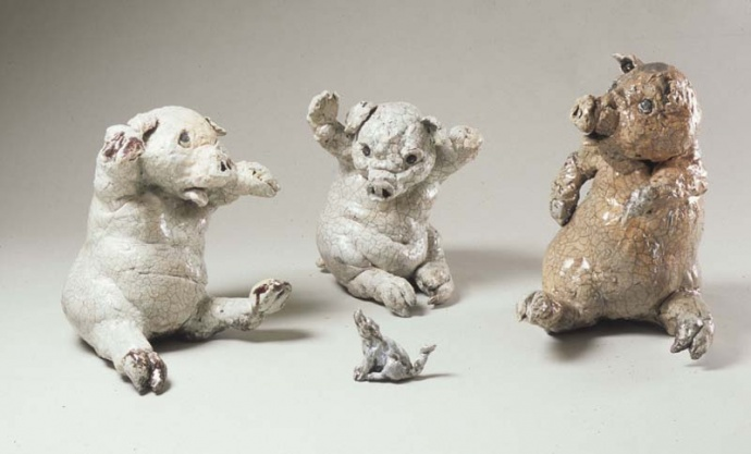 """The Three Not So Little Pigs & The Not So Big Not So Bad Wolf"" by Jackie Lau Mild, 2007, ceramic-raku (located in Rep. Mark Nakashima's office) - Credit: State Foundation on Culture and the Arts."