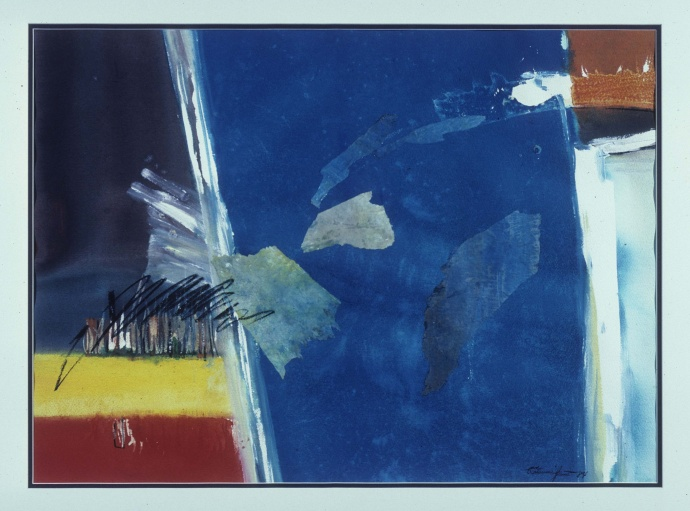 """View from the Plane"" by Katsumi Yamashiro, 1984, watercolor, collage (located in Rep. Della Au Belatti's office) – Credit: State Foundation on Culture and the Arts."