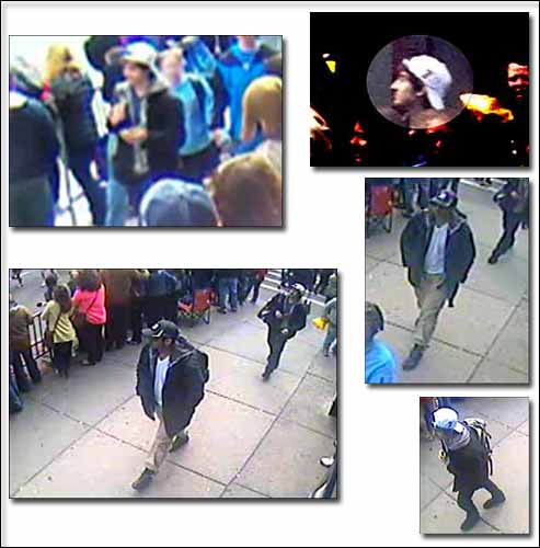 """FBI array of images of individuals the agency is calling """"suspects"""" in the deadly Boston Marathon bombings. Courtesy photos."""
